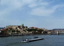 Panoramic View of Buda Castle, Budapest, Hungary. With the Danube river, the Chain Bridge and residential district on the hilltop aboven royalty free stock photography