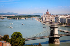 Panoramic view of Budapest. View from above of the parliament building on the Danube river bank in Budapest, Hungary royalty free stock photo