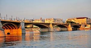 Panoramic view of Budapest bridge on sunset. Hungary Stock Photos
