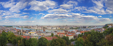 Panoramic view of Budapest from the castle of Buda, Hungary. Panorama of Budapest from the castle of Buda, Hungary Stock Photos