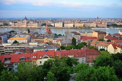 Panoramic view of Budapest city on sunset. Hungary Royalty Free Stock Photo