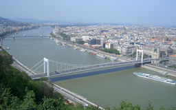 Panoramic view of Budapest and the Danube River Royalty Free Stock Photo