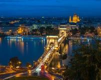 Panoramic view of Budapest, Hungary, with the Chain Bridge Stock Photos