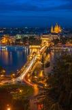 Panoramic view of Budapest, Hungary, with the Chain Bridge Stock Image