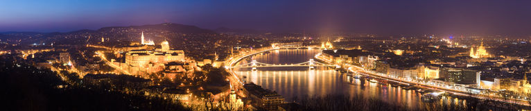 Panoramic view of Budapest at night, Hungary Stock Photos
