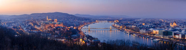 Panoramic view of Budapest at night, Hungary Royalty Free Stock Photos