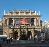 Panoramic view of Budapest Opera House on Andrassy Avenue royalty free stock photography