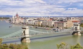 Panoramic view of Budapest with Parliament and Chain Bridge stock photos