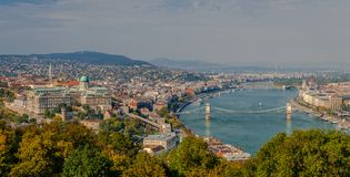 Budapest panorama from Gellert Hill. stock photography