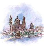 The panoramic view of Budapest   watercolor Royalty Free Stock Image