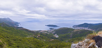 Panoramic view of Budvanska rivijera. Montenegro. Royalty Free Stock Images