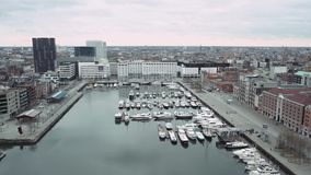 Panoramic view of the building, overlooking the city. Nice view of the city Antwerp. 4k stock video footage