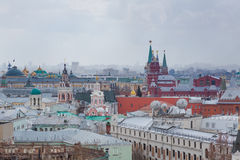 Panoramic view of the building from the roof of Moscow in cloudy weather during the day Stock Photography