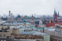 Panoramic view of the building from the roof of Moscow in cloudy weather during the day Stock Photos
