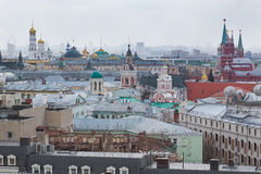 Panoramic view of the building from the roof of Moscow in cloudy weather during the day Stock Image