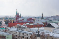 Panoramic view of the building from the roof of Moscow in cloudy weather during the day Stock Images