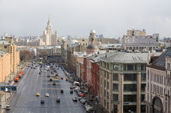Panoramic view of the building from the roof of Moscow in cloudy weather during the day Royalty Free Stock Photos