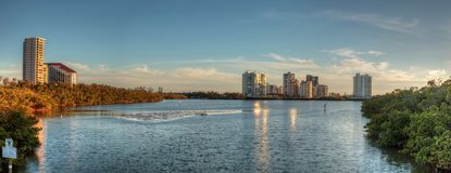 Panoramic view of the buildings at Clam Pass at sunset. In Naples, Florida Stock Photos