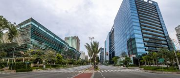 Panoramic view of Buildings at Faria Lima Avenue in Sao Paulo financial district - Sao Paulo, Brazil Royalty Free Stock Images