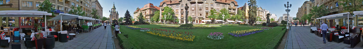 Panoramic view of buildings from Victory Square, Timisoara, Roma Royalty Free Stock Photos