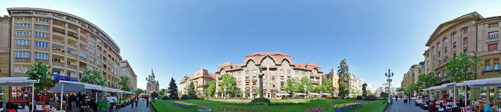 Panoramic view of buildings from Victory Square, Timisoara, Roma Royalty Free Stock Photo