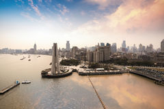 Panoramic view of the bund in shanghai. Panoramic view of the bund with huangpu river at dusk in shanghai Royalty Free Stock Images