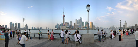 Panoramic view of The Bund, Shanghai, China. The Bund (simplified Chinese: 外滩; traditional Chinese: 外灘; Shanghainese: nga3thae1; Mandarin royalty free stock photos