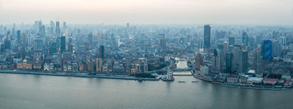Panoramic view of the bund in shanghai Royalty Free Stock Photo