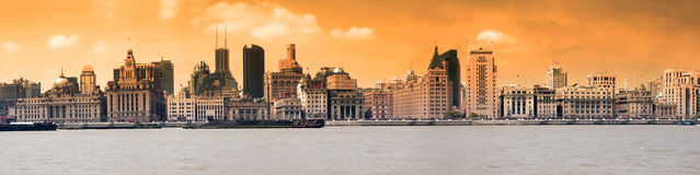 Panoramic view of the Bund at sunset, Shanghai Royalty Free Stock Photo