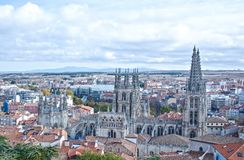 Cathedral from the Castle of Burgos. Panoramic view of Burgos Cathedral from the viewpoint of the castle Stock Photography