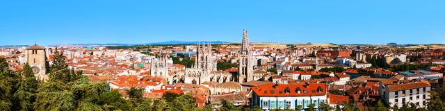 Panoramic view of Burgos - historic capital of Castile in Spain. Burgos, Spain. Panoramic view of Burgos - historic capital of Castile in Spain. Popular Stock Images