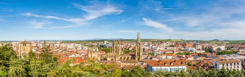 Panoramic view at the Burgos Town in Spain stock images