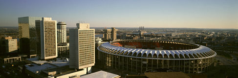 Panoramic view of Busch Stadium and Kansas City skyline at sunset, MO Royalty Free Stock Image