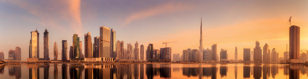 Panoramic view of Business bay and downtown area of Dubai, reflection in a river, UAE Stock Photography