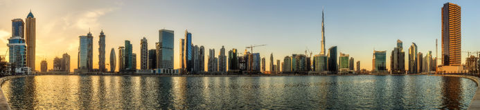 Panoramic view of Business bay and downtown area of Dubai, UAE Royalty Free Stock Photography