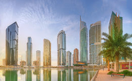 Panoramic view of Business bay and Lake Tower, reflection in a river, Dubai UAE Royalty Free Stock Images
