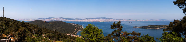 Panoramic view of Buyukada or Prigipos (Prince's)  Island, Turke Stock Images