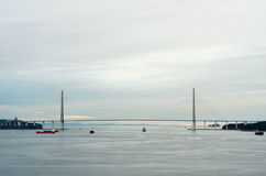 Panoramic view at cable-stayed bridge to Russian Island. Vladivo Stock Images