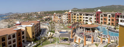 Panoramic view of Cabo San Lucas, Mexico. Lands end can be seen in the far background Royalty Free Stock Images