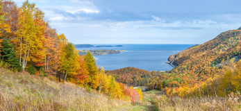 Panoramic view of Cabot Trail in the fall Royalty Free Stock Image