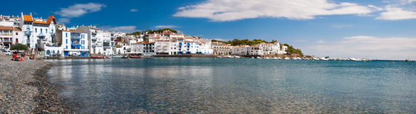 Panoramic view of Cadaques beach and coast Royalty Free Stock Photography