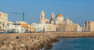 Panoramic view of Cadiz Cathedral stock video footage