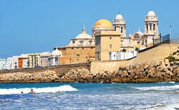 Panoramic view of Cadiz with the Cathedral, Andalusia, Spain Stock Image