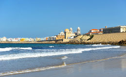 Panoramic view of Cadiz with the Cathedral, Andalusia, Spain Royalty Free Stock Images