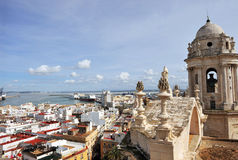 Panoramic view of Cadiz from the tower of the Cathedral, Andalusia, Spain Royalty Free Stock Photo