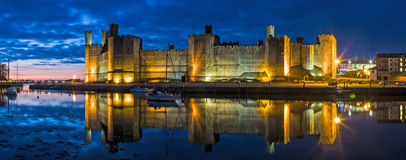 Caernarfon Castle at Night Royalty Free Stock Photos