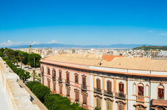 Panoramic view of Cagliari on a clear day Stock Photography