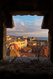 Panoramic view of Cagliari downtown at sunset in Sardinia Stock Image