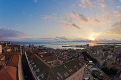 Panoramic view of Cagliari downtown at sunset in Sardinia Royalty Free Stock Photography