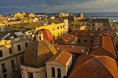 Panoramic view of Cagliari downtown at sunset in Sardinia Royalty Free Stock Photos